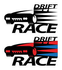 Drift race sign or symbol, vector illustration