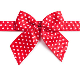 Red ribbon with white polka dots