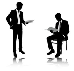 businessman reading report silhouettes - vector