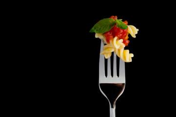 Pasta on black background