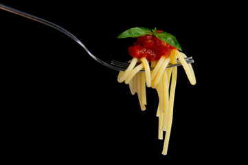 Pasta on black background