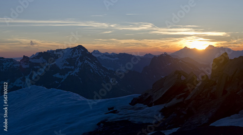 Mont Blanc mountain in Alps at sunset