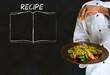 Chef with recipe book on chalk blackboard menu background