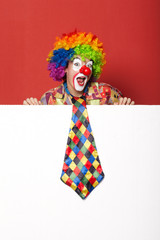 funny clown with tie on blank white board