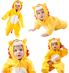 Collage of children,dressed in lion carnival suit, isolated