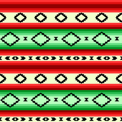 Mexican blanket striped seamless pattern in green and red