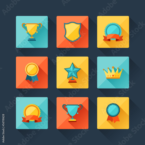 Trophy and awards icons set in flat design style.