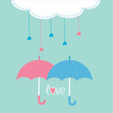 Cloud with hanging rain drops and two umbrellas. Love card.