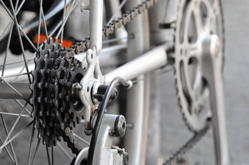 Rear bike cassette on the wheel with chain