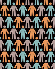 Seamless pattern with people figure