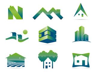 Set of nine stylish real estate company logo elements