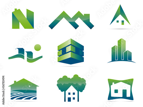 Set of nine stylish real estate company logo elements