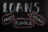 Loans advertised on a blackboard sign