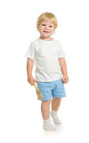 boy with paint brush front view standing full length isolated on