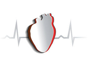 Human heart, abstract design. Cut out heart shape