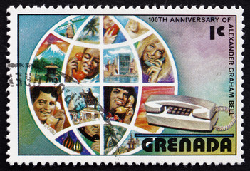 Postage stamp Grenada 1976 Globe and Telephone Users
