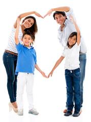 Loving family making a heart