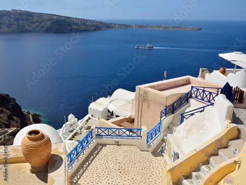The traditional architecture of Santorini, Oia, sea view.