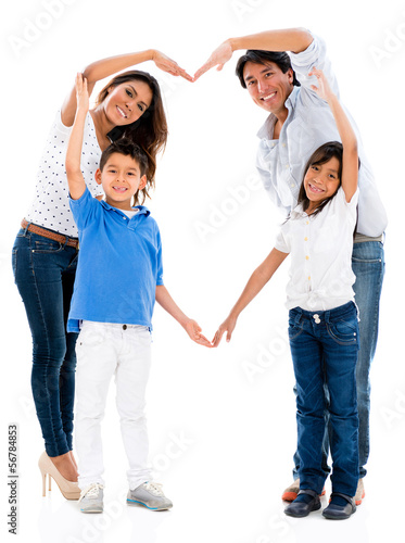 Loving family making a heart