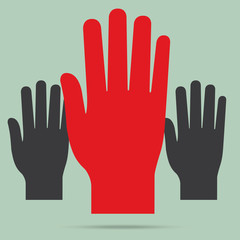 popular raise red color left hand up isolated vector