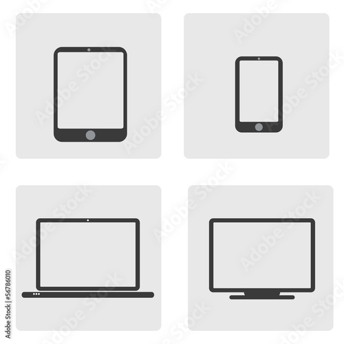 Set of tablet, phone, computer and laptop icon