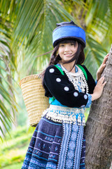 cute asian girl in beautiful hill tribe costume of Thailand