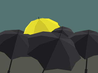 Stand out of a crowd, yellow umbrella
