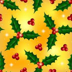 Christmas seamless pattern with holly berries on gold background