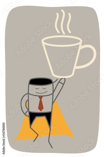 super business man get big mug of coffee power up on monday