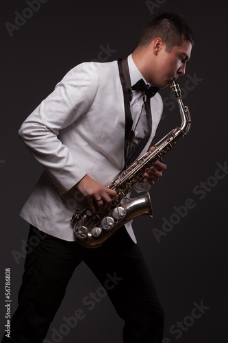 Sax player playing modern music