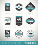 Online Marketing labels and badges with icons