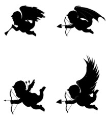 cupids good and bad in silhouette
