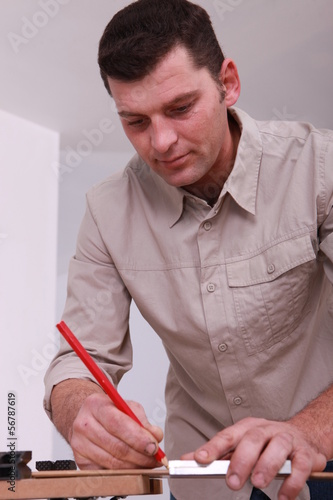 Carpenter with a pencil
