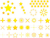 Set of yellow stars illustrated on white