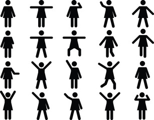 Set of active woman pictograms illustrated on white