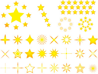 Set of yellow stars illustrated on white