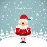 Santa Claus with caramel cane The Christmas card