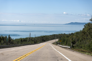 A road in Saguenay fjord near tadoussac