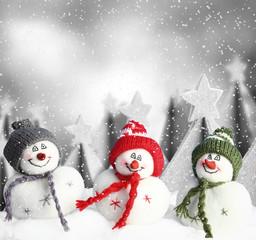 Lustige Schneemänner - Winterlandschaft