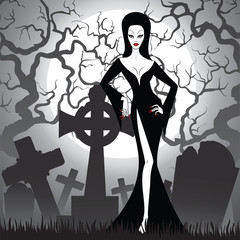 witch on cemetery