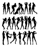 Set of girls silhouette. On white background.