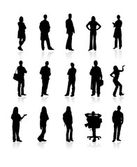 Set of siluetes people on wite background. Vector