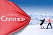 Business team pull christmas banner