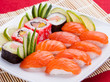 Fresh delicious sushi on a plate