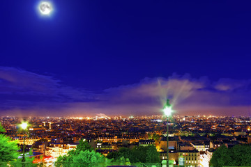 Night view of Paris from the hill of Montmartre.Paris.