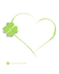 heart and lucky clover on white background