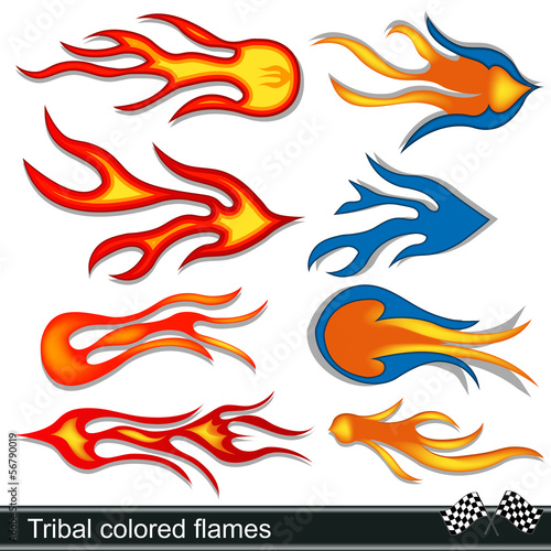 tribal colored flames design
