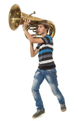 The young man holds a tuba as the weapon