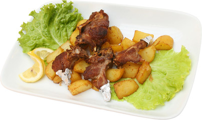 Meat with popatoes and salad