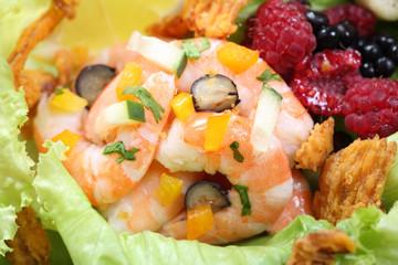 fresh shrimp salad close up